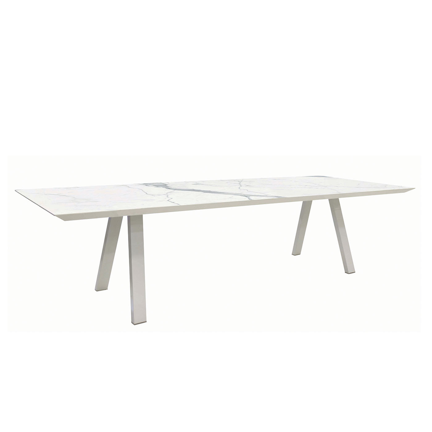 Luxor-3m-Outdoor-Dining-Table-In-White-Side-View